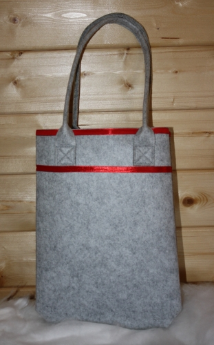 felt Bag grey with stripes