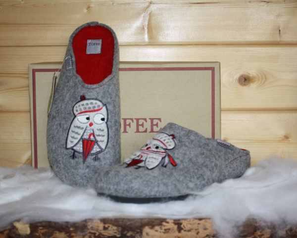 Tofee ladies slipper owl with scarf grey